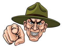 An Army Bootcamp Drill Sergeant Soldier Looking Mean And Pointing At The Viewer
