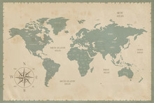 Old World Map In Vintage Style...