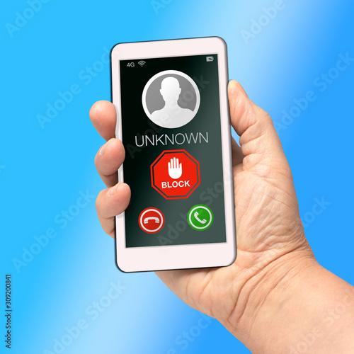 block unknown caller cell mobile phone Obraz na płótnie