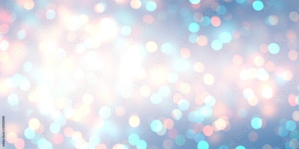 Fototapeta New year glitter banner. White blue pink bokeh empty background. Shimmer sparkles abstract texture. Winter holidays blurred template. Brilliance fantastic defocused illustration.