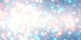 New year glitter banner. White blue pink bokeh empty background. Shimmer sparkles abstract texture. Winter holidays blurred template. Brilliance fantastic defocused illustration.