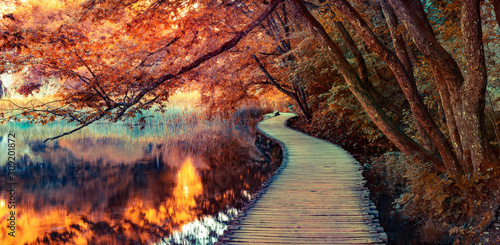 Infrared filtered view of Plitvice Lakes National Park Canvas Print