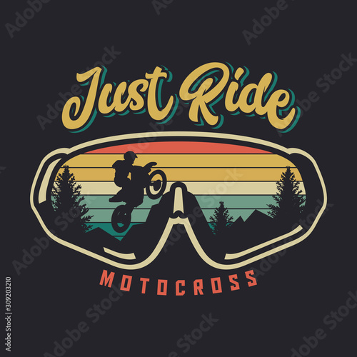 Fotografie, Obraz Just ride motocross with glasses and sunset background vintage retro illustratio