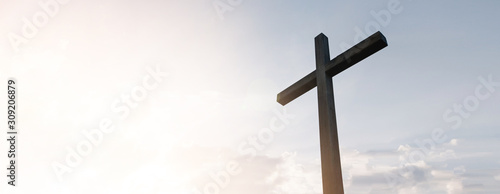 Slika na platnu Wooden cross over sunrise background