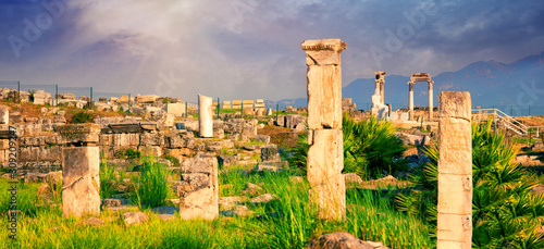 Panorama of ancient city of Hierapolis with statue of Pluto in Pamukkale Canvas