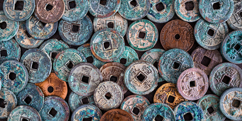 Fototapeta pièces de monnaie vietnamienne anciennes obraz