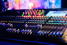 Closeup Of An Audio Mixing Control Panel