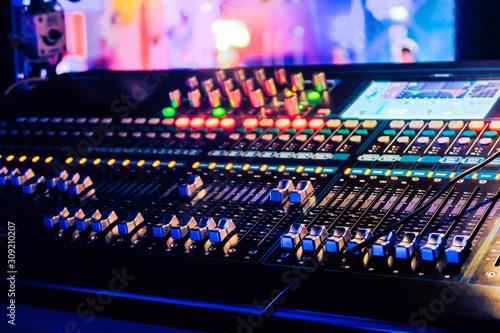 Closeup of an audio mixing control panel - 309210207