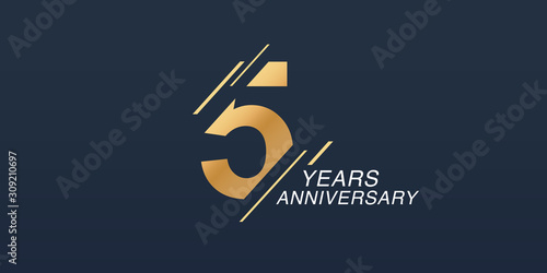 5 years anniversary vector icon, logo Tablou Canvas