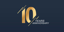 10 Years Anniversary Vector Icon, Logo. Graphic Design Element With Golden Number