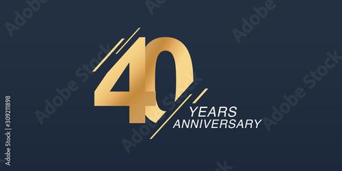 Fotografía 40 years anniversary vector icon, logo