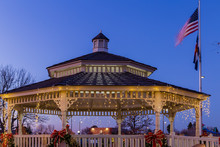 Christmas Gazebo At Dusk