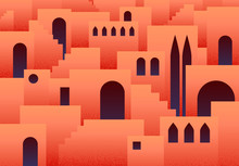 Abstract Flat Background With Eastern, Arabic Or Muslim Ancient City With Arches And Step Ladders In Lush Lava Color