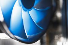 Blue Cpu Cooler Inside PC Case...