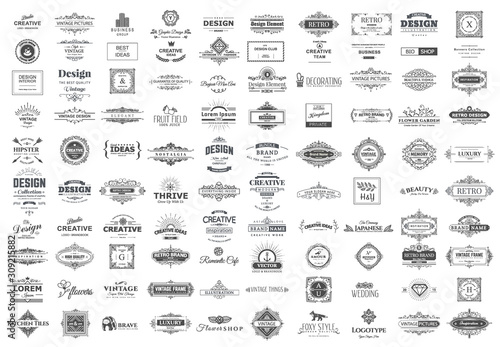Collection of vintage logos and symbols. Canvas Print