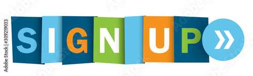 Cuadros en Lienzo SIGN UP colorful vector typography web button