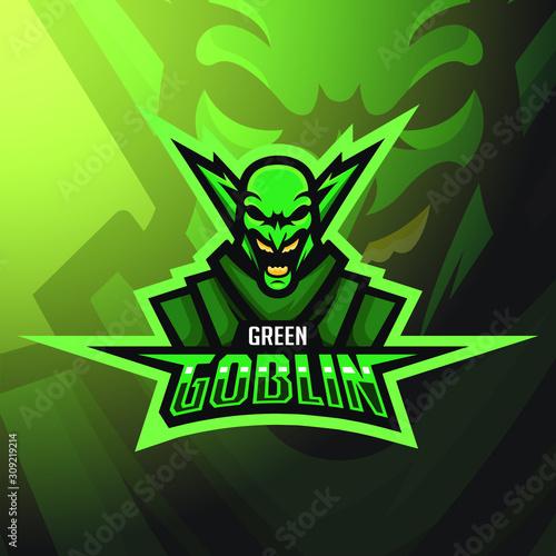 фотография stock vector green goblin mascot logo illustration
