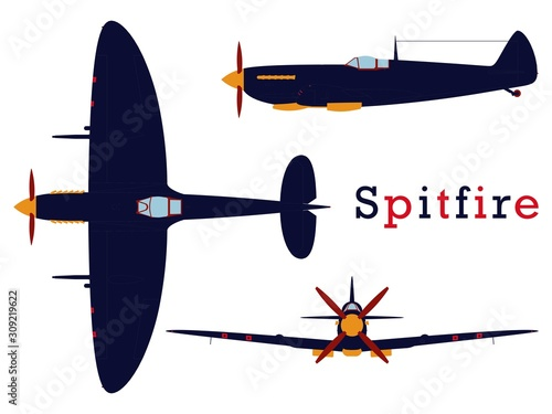 Fotografie, Tablou Supermarine Spitfire aircraft WWII colored.