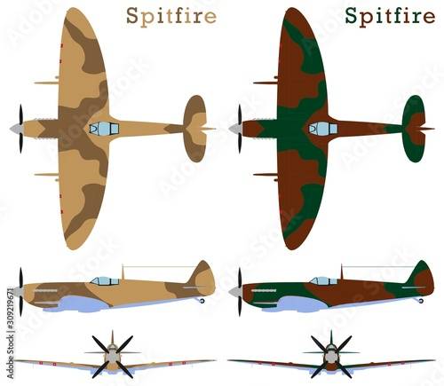 Supermarine Spitfire aircraft WWII and camouflages. Fototapet