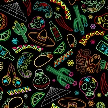 Mexico Fiesta Ornamental Line Art Elements Vector Seamless Repeat Textile Pattern