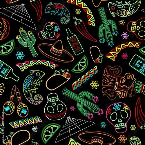 Mexico Fiesta Ornamental Line Art Elements Vector Seamless Repeat Textile Pattern #309226205