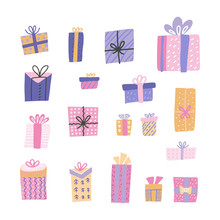 Cute Big Collection Cartoon Gift Box With Hand Drawn Doodle Elements. St Of Decorated Presents With Bows And Ribbons. Vector Scandinavian Childish Flat Illustration.