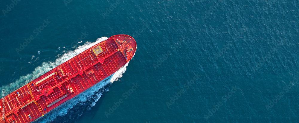 Obraz Aerial drone ultra wide panoramic photo of industrial fuel and petrochemical tanker cruising open ocean deep blue sea fototapeta, plakat