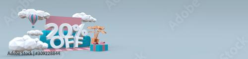 Fotografia 3D illustration banner in pastel colors with text: 20 twenty percent off