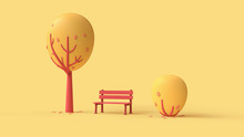 Autumn Park With Red Lonely Bench, Falling Leaves, Simple Cartoon Red Tree And Bush. Landscape In Bright Colors. Concept Art Autumn Mood In Fall Season. Magic 3d Illustration On Yellow Background.