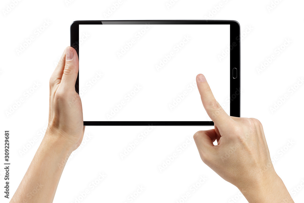 Fototapeta Hands touching blank screen of black tablet computer, isolated on white background