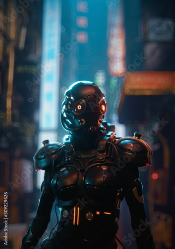 3d illustration of science fiction cyborg female in shiny black metal armor suit with helmet with red luminous glasses standing in night city street with shopping malls Canvas Print