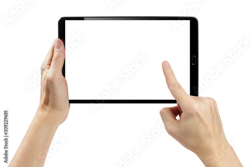 Obraz Hands touching blank screen of black tablet computer, isolated on white background - fototapety do salonu