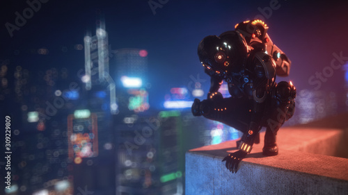 Photo 3d illustration cyborg female sitting on her haunches on the edge of the concrete roof of tall building looks down at the night city