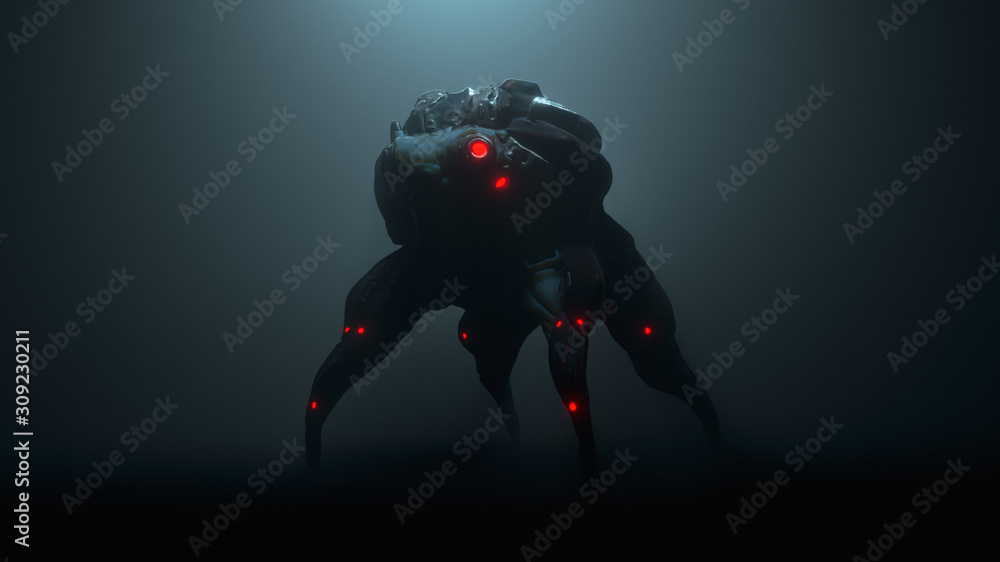 Fotografie, Obraz 3d illustration of a cyberpunk scary creature with red luminous eyes in a night scene