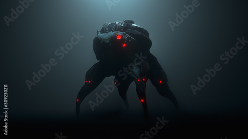 Tablou Canvas 3d illustration of a cyberpunk scary creature with red luminous eyes in a night scene