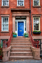 A Colorful Blue Door On A Hist...