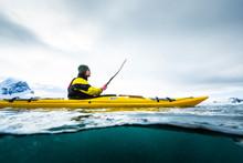 Man Kayaking In Cierva Cove