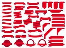 Red Ribbon Banners, Template Labels Set. Blank For Decoration Graphic. Vector Illustration