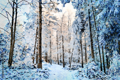 digital-art-painting-canvas-beautiful-winter-landscape-white-and-snowy-pathway-among-trees-in-a-deep-forest-on-a-sunny-and-cold-day-watercolor-effect