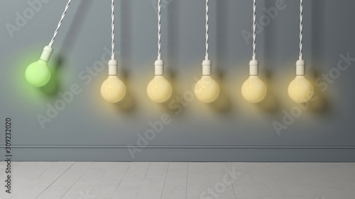 Fotografie, Obraz light bulb as pendulum is hitting other lightbulbs like in a newton cradle