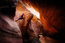 Woman Rappelling In Keyhole Canyon