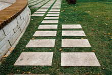 Paving Slabs In The Autumn Park