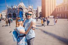 Selfie Lover Couple Taking Pho...