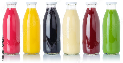 Foto Group of fruit smoothies fruits orange juice drink in a bottle isolated on white