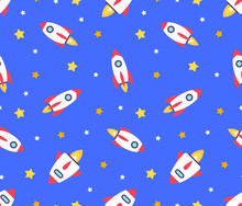 Seamless Pattern With Rockets. Isolated On Blue Background