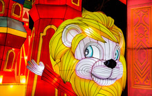 Colorful Silk Chinese Lantern Figures Demonstrate Traditions Of Russian And Chinese Culture And New Year's Mood