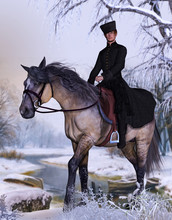 Russian Boyar Aristocrat On Horse In Winter