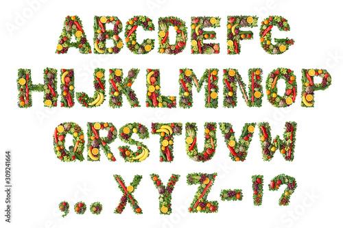 Fruit and vegetable alphabet Wallpaper Mural