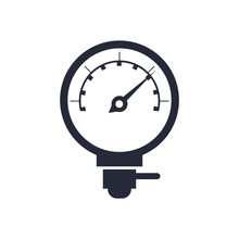 Car Pressure Gauge Assembly Piece Flat Icon