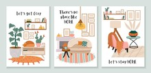 Set Of Cozy Cards With Interio...